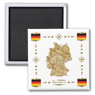 Tyskland karta + Flaggormagnet
