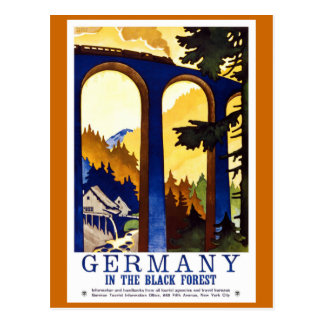 Tyskland svart affisch för skogvintage resor vykort