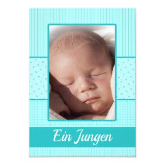Tyskt pojkefödelsemeddelande 12,7 x 17,8 cm inbjudningskort