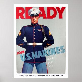 "U.S. Affisch för marinkorpralvintage""redo"""