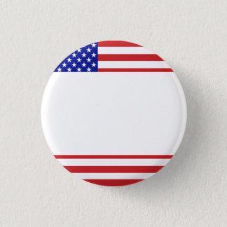U.S. Flagga - skriv din egna text Mini Knapp Rund 3.2 Cm