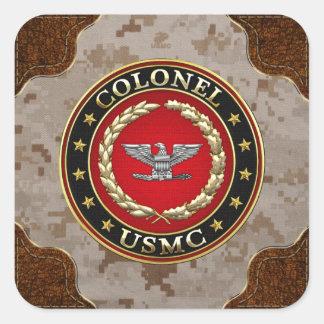U.S. Flottor: Överste (USMC-Col) [3D] Fyrkantigt Klistermärke