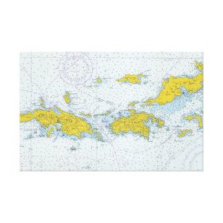 U.S. Nautiska Virgin Islands kartlägger kartan Canvastryck