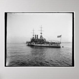 U.S.S. Vintage för Alabama slagskepp c1902 Poster