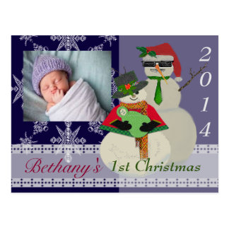 U väljer den 1st baby för färgsnögubben första jul vykort