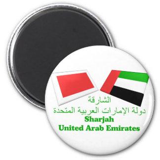UAE & den Sharjah flagga belägger med tegel Magnet