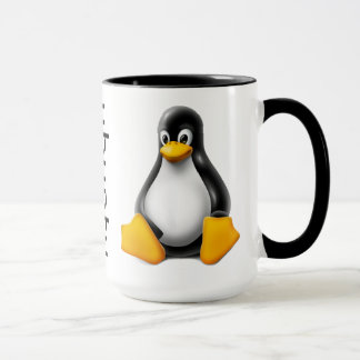 Ubuntu kaffemugg med logotypen och tuxen