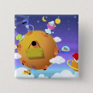 UFO med planet i utrymme Standard Kanpp Fyrkantig 5.1 Cm