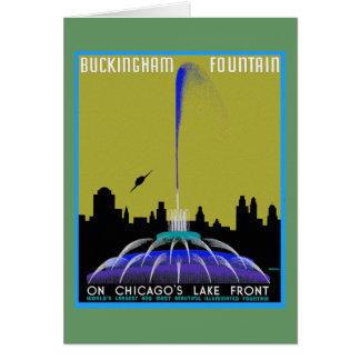 UFO över Chicago - den Buckingham fontänen Hälsningskort