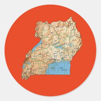 Uganda kartaklistermärke runt klistermärke