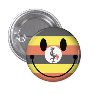 Uganda Smiley Mini Knapp Rund 3.2 Cm