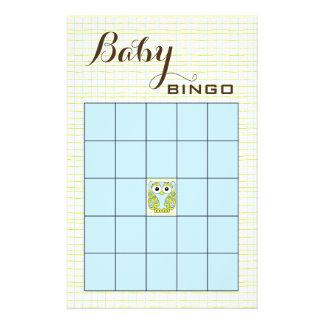 UGGLA för grönt för baby showerBINGOblått Reklamblad 14 X 21,5 Cm