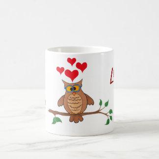 Uggla & hjärtor - kaffe muggar
