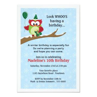 Uggla med inbjudan för ballongvinterfödelsedag