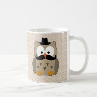 Uggla med mustasch och hatten kaffe kopp