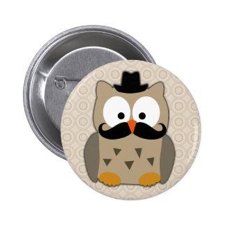 Uggla med mustasch och hatten standard knapp rund 5.7 cm