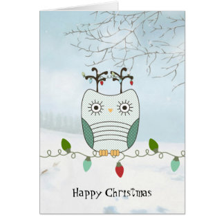 Uggla på julljus hälsningskort