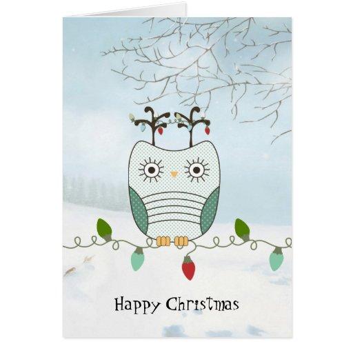 Uggla på julljus hälsnings kort