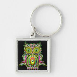 Uggla Psychedelic Popart Keychain Fyrkantig Silverfärgad Nyckelring