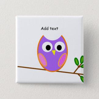 Uggla: Rosa & purpurfärgad uggla Standard Kanpp Fyrkantig 5.1 Cm