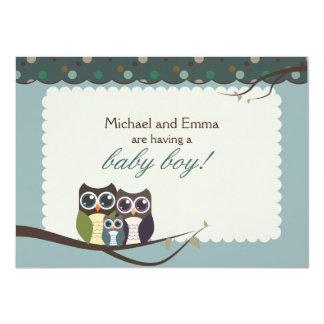Ugglafamiljbaby shower för pojke 11,4 x 15,9 cm inbjudningskort