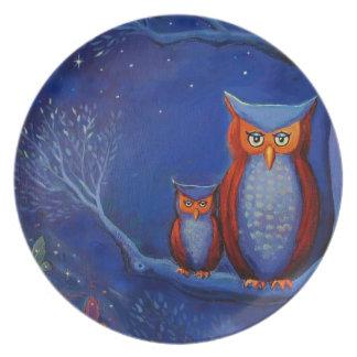 """Ugglakonst """"skogen på den dekorativa natten"""" - dinner plates"""
