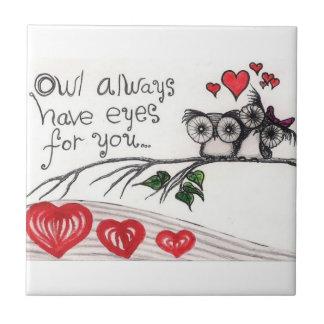 """Ugglan har alltid lilla ögon för dig - (4,25"""" x 4, kakelplatta"""