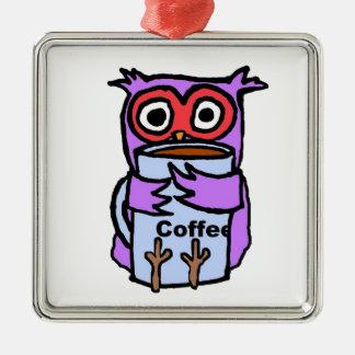 Ugglan kramar kaffemuggen julgransprydnad metall