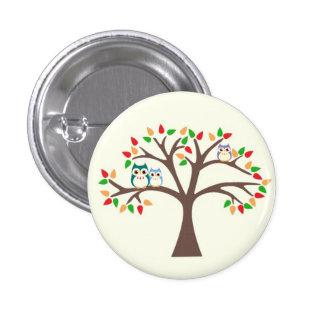 Ugglor i träd mini knapp rund 3.2 cm