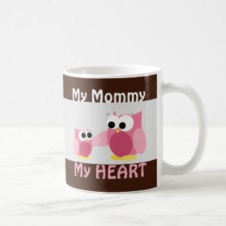 Ugglor - min mammor, min HJÄRTA - mors dagmugg Vit Mugg