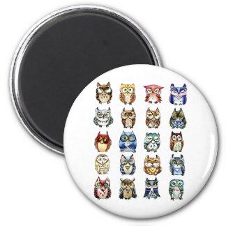 Ugglor och katt magnet rund 5.7 cm