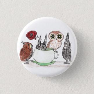 Ugglor på Teatime Mini Knapp Rund 3.2 Cm