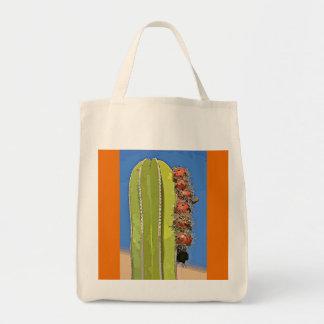 Ugnen leda i rör kaktusen i tecknadlivsmedeltoto tygkasse