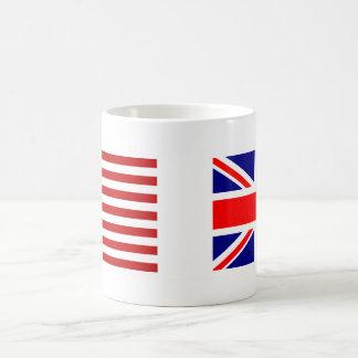UK & USA flaggor sid - by - sidan Vit Mugg