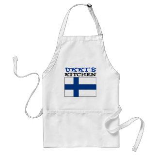 Ukkis kök med flagga av Finland Förkläde