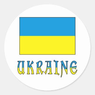 Ukraina flagga & ord rund klistermärke
