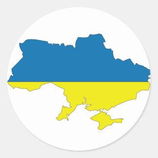 Ukraina flaggakarta rund klistermärke