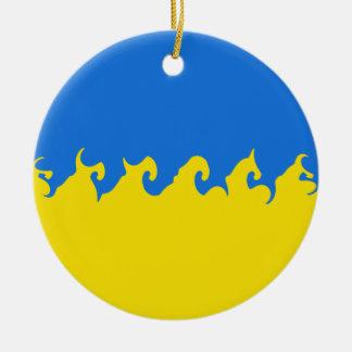Ukraina Gnarly flagga Rund Julgransprydnad I Keramik