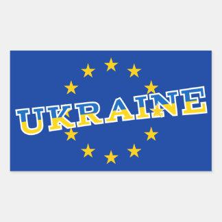 Ukraina och Europeiska unionflaggadesign Rektangulärt Klistermärke