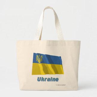 Ukraina traditionell vinka flagga med namn tote bag