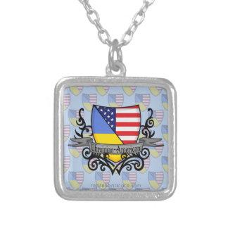 Ukrainare-Amerikanen skyddar flagga Silverpläterat Halsband
