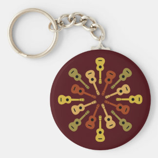 Ukulelenyckelringen - välj stil rund nyckelring