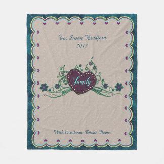 Ullfilt - landhjärtor - familj - blått fleecefilt