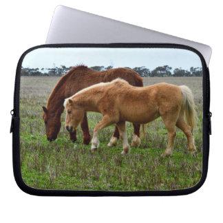 Ulliga kastanjebruna hästar för vinter, laptop fodral