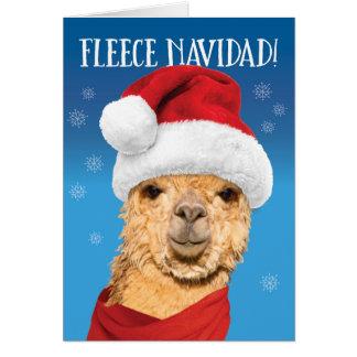 UllNavidad gullig Alpaca i Santa hattjul Hälsningskort