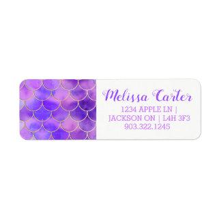 Ultraviolett & guld- sjöjungfrufjällmönster returadress etikett
