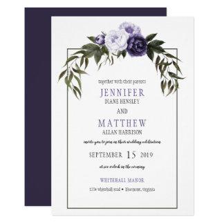 Ultravioletta pionvattenfärgbröllop 12,7 x 17,8 cm inbjudningskort