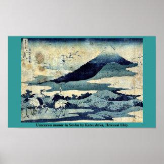 Umezawa säteri i Soshu vid Katsushika, Hokusai Poster