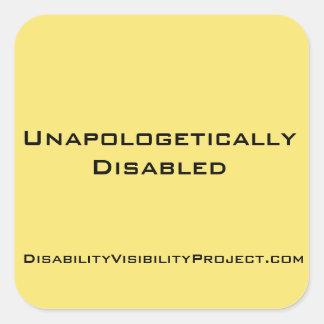 Unapologetically rörelsehindrada klistermärkear, fyrkantigt klistermärke