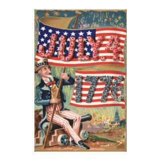Uncle Sam för smällare för US-flaggafyrverkerier Canvastryck